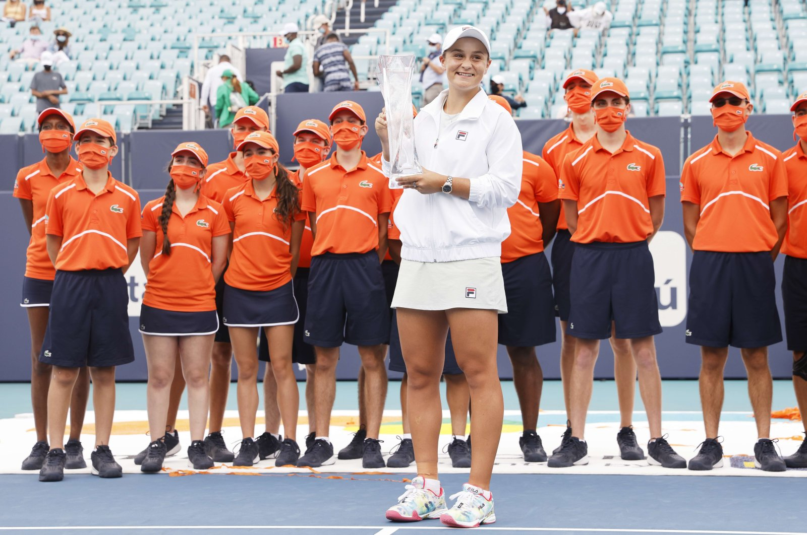 Ashleigh Barty of Australia poses with the winner's trophy after defeating Bianca Andreescu of Canada during the final of the Miami Open at Hard Rock Stadium on April 03, 2021 in Miami Gardens, Florida. (Michael Reaves/Getty Images via AFP)
