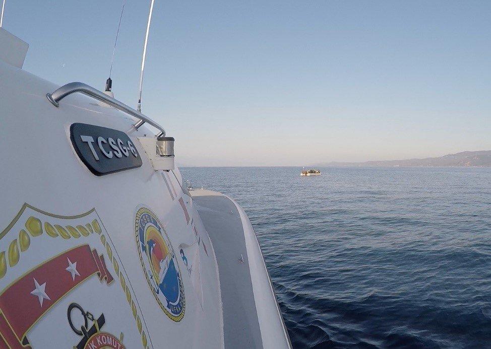 The Turkish coast guard rescued 54 asylum-seekers close to Çanakkale province, Turkey, April 3, 2021. (AA Photo)