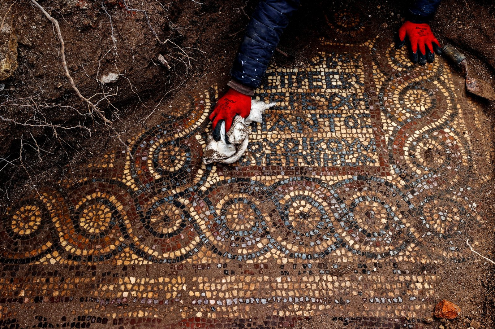 1500-year-old mosaic unearthed in Aliağa district, Izmir, western Turkey, April 3, 2021. (AA Photo)