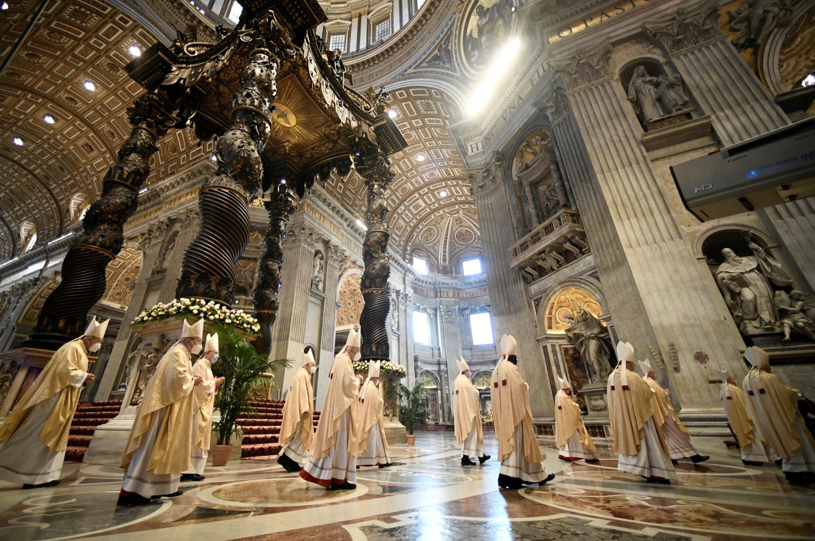 Cardinals and bishops arrive at Pope Francis' Easter Mass at St. Peter's Basilica at the Vatican, Vatican City, April 4, 2021. (Reuters Photo)