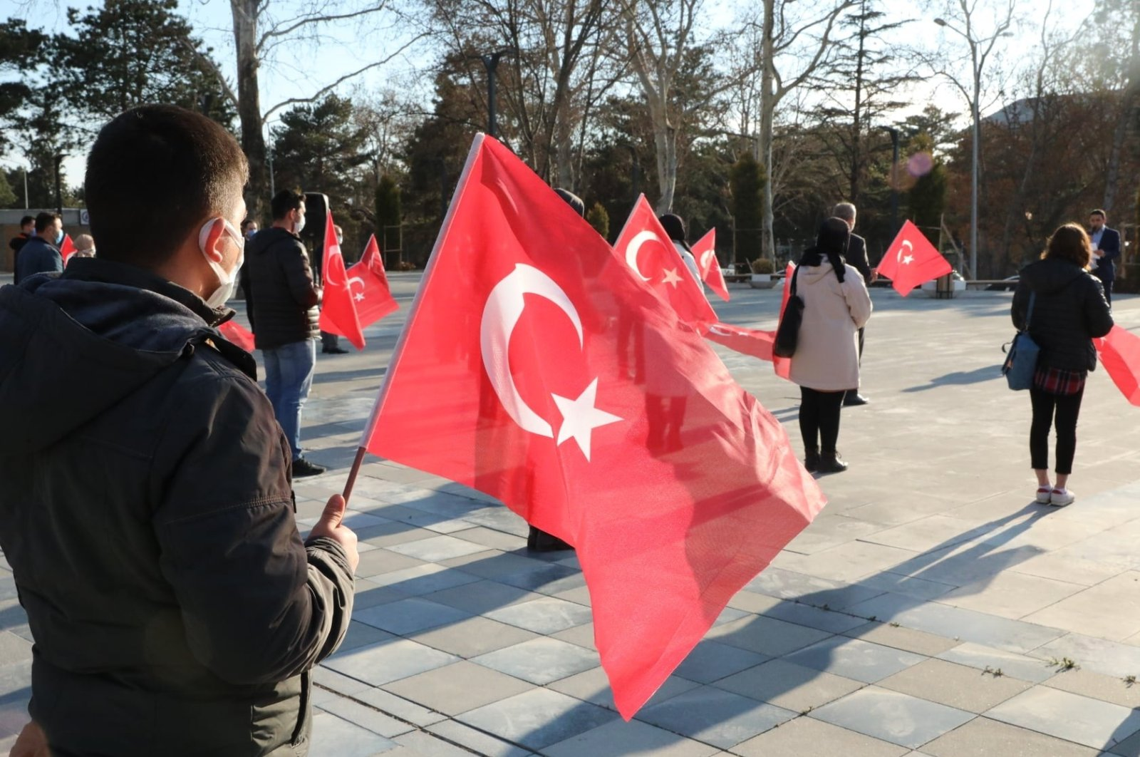 The ruling Justice and Development Party's Youth branches met at the July 15 Democracy Square on the 100th anniversary of Turkey's national anthem, Amasya, March 13, 2021 (IHA Photo)