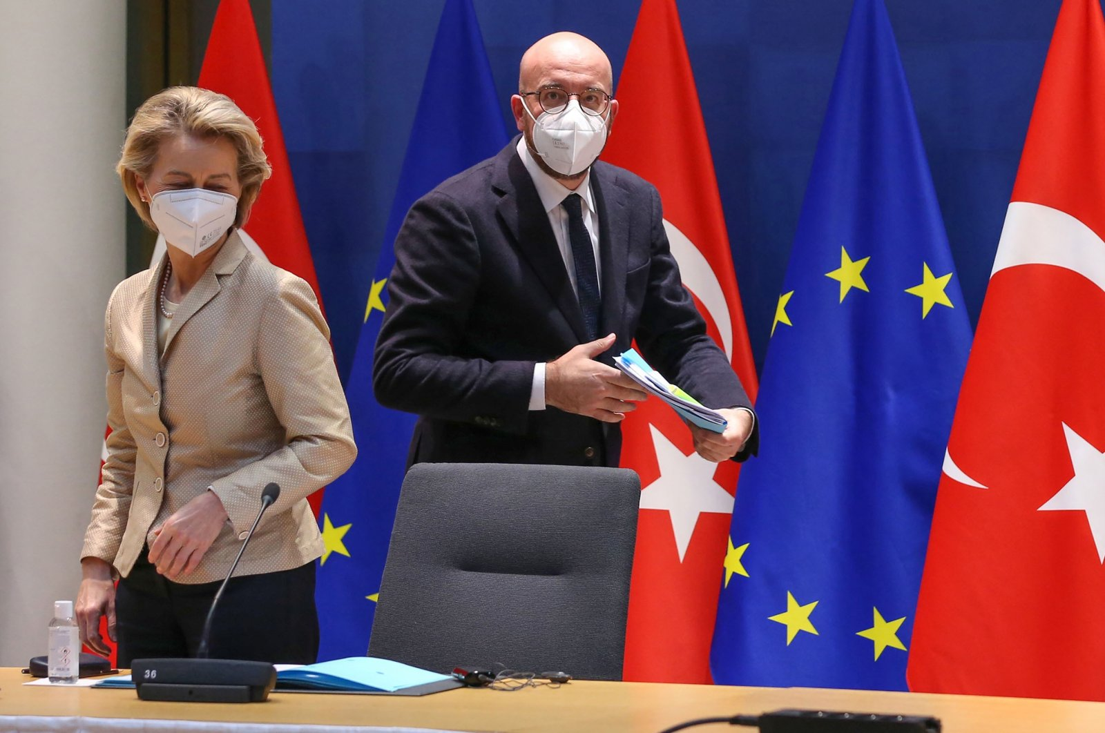 Ursula von der Leyen, president of the European Commission (L) and Charles Michel, president of the European Council, arrive for a video link meeting with Turkey's President Recep Tayyip Erdoğan, not pictured, at the Europa Building, Brussels, Belgium, March 19, 2021. (Getty Images)