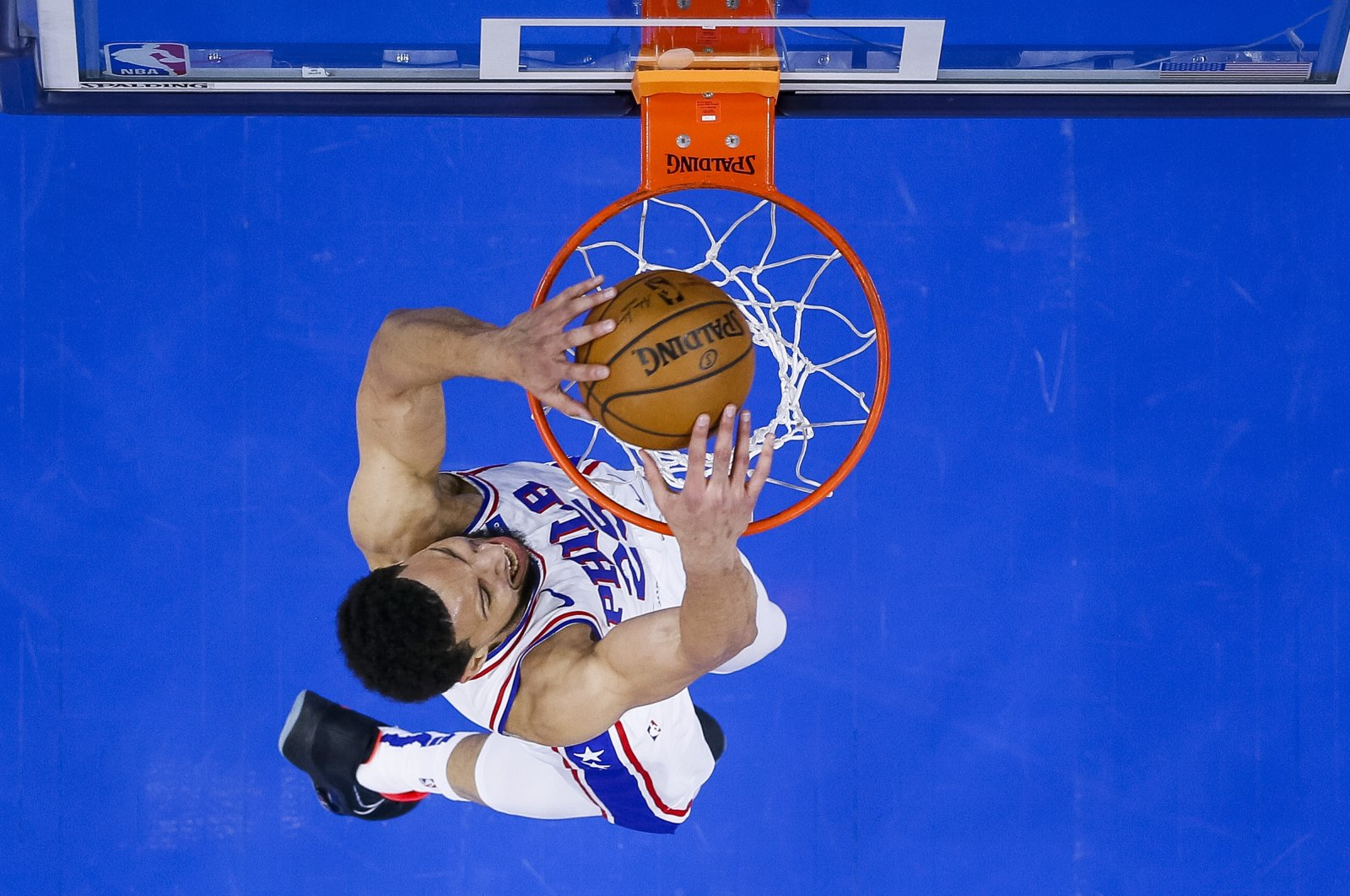 Philadelphia 76ers' Ben Simmons dunks during the first half of an NBA basketball game against the Minnesota Timberwolves, in Philadelphia, U.S., April 3, 2021. (AP Photo)