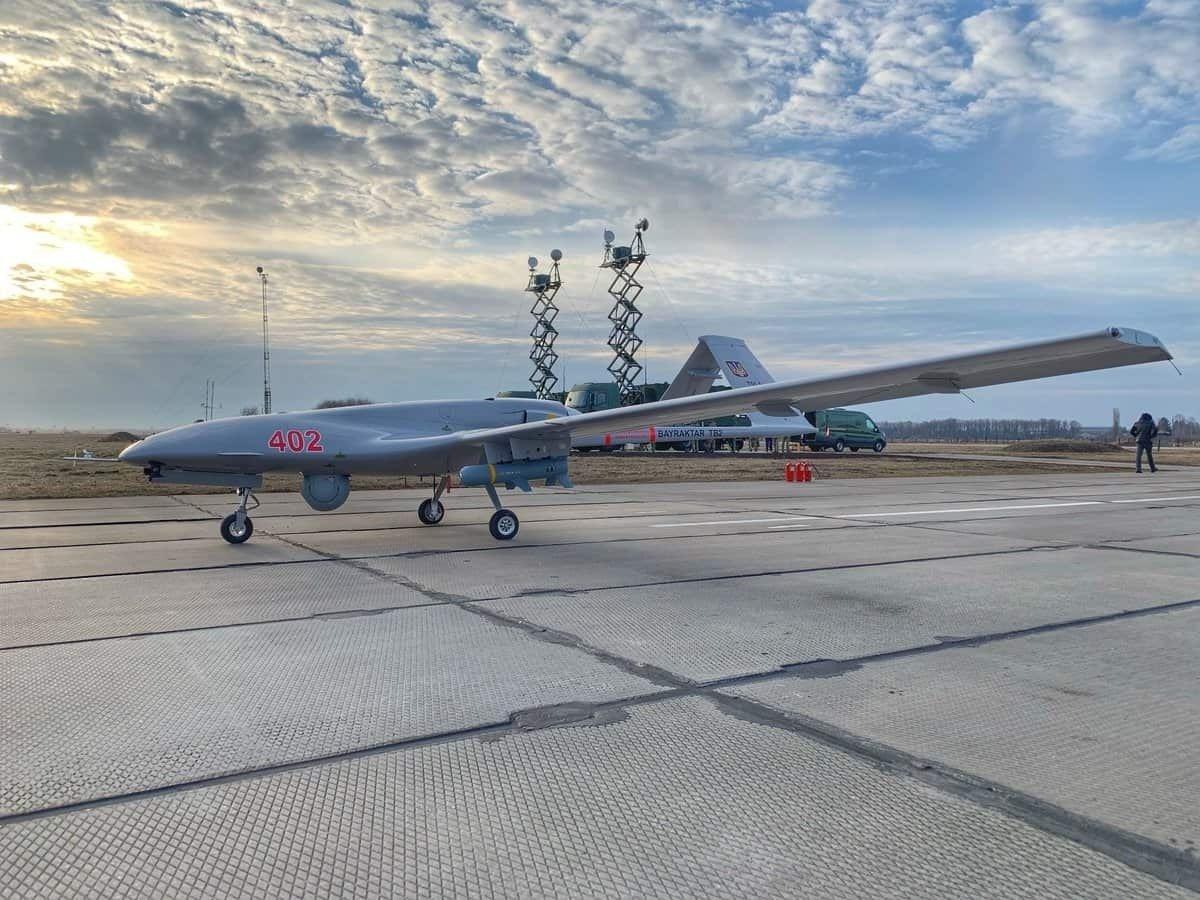 The Bayraktar TB2 unmanned aerial vehicle purchased by Ukraine from Turkey in Kyiv, Ukraine, March 27, 2021. (IHA Photo)