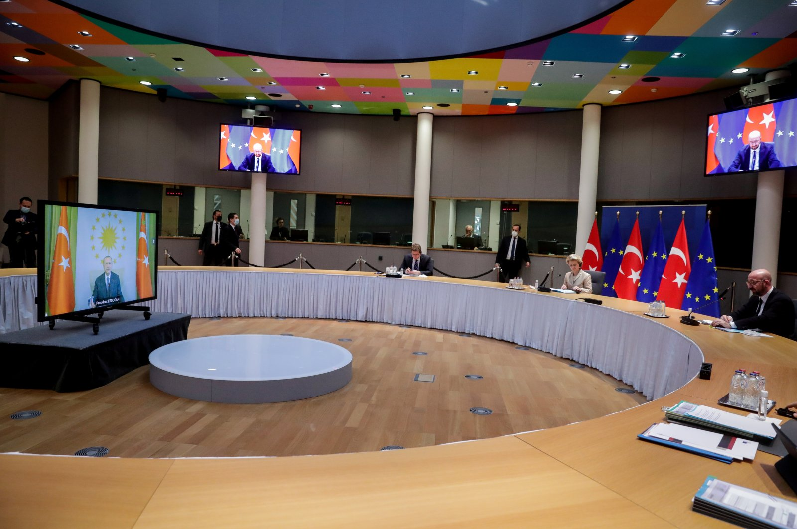 European Commission President Ursula von der Leyen (C) and EU Council President Charles Michel (R) hold a video call with Turkey's President Recep Tayyip Erdoğan, in Brussels, Belgium, March 19, 2021. (Reuters Photo)