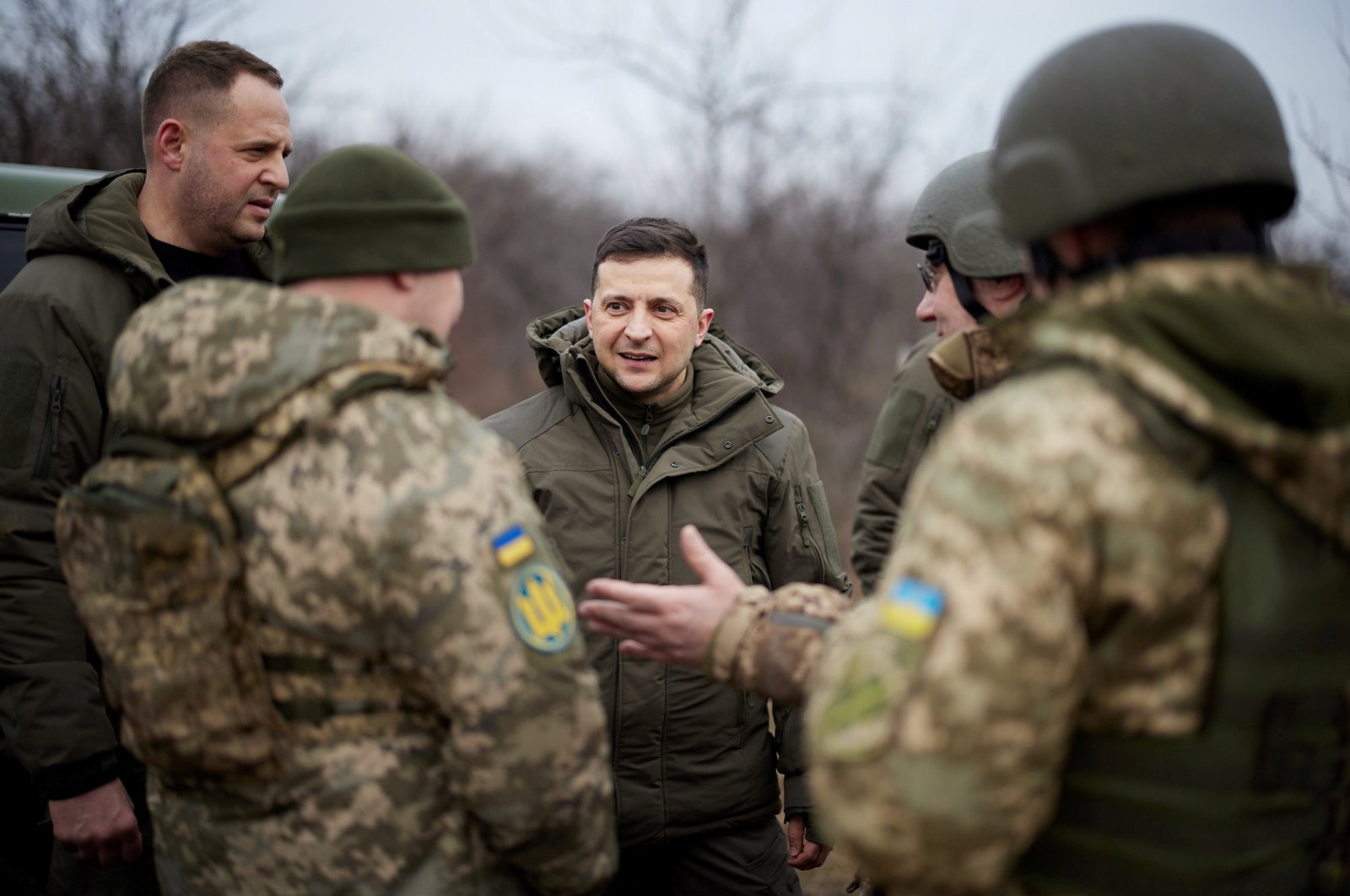 Ukrainian President Volodymyr Zelenskiy talks to servicemen during a working trip to the Joint Forces Operation (JFO) area in Donetsk Region, Ukraine, Feb. 11, 2021. (Reuters Photo)