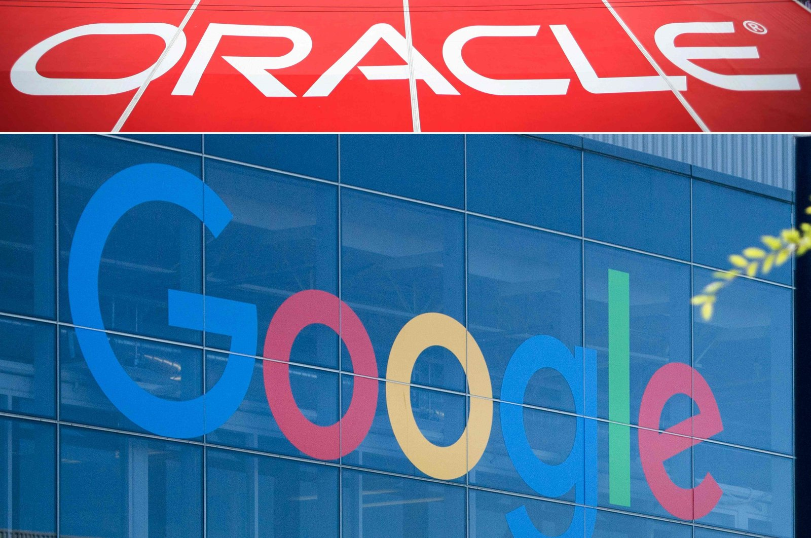 This combination of pictures created on Oct. 2, 2020 shows the Oracle logo (top) at the Oracle OpenWorld 2011 in San Francisco; and a Google logo at the Googleplex in Menlo Park, California on Nov. 4, 2016. (AFP Photo)