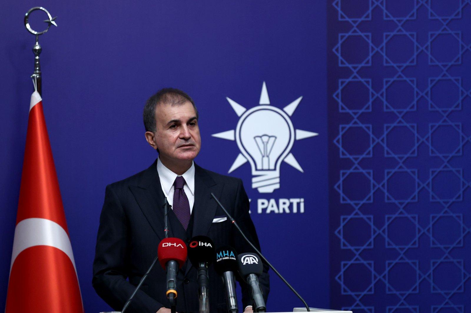 Justice and Development Party (AK Party) Spokesperson Ömer Çelik speaks during a press conference in Ankara, Turkey, April 5, 2021. (AA)