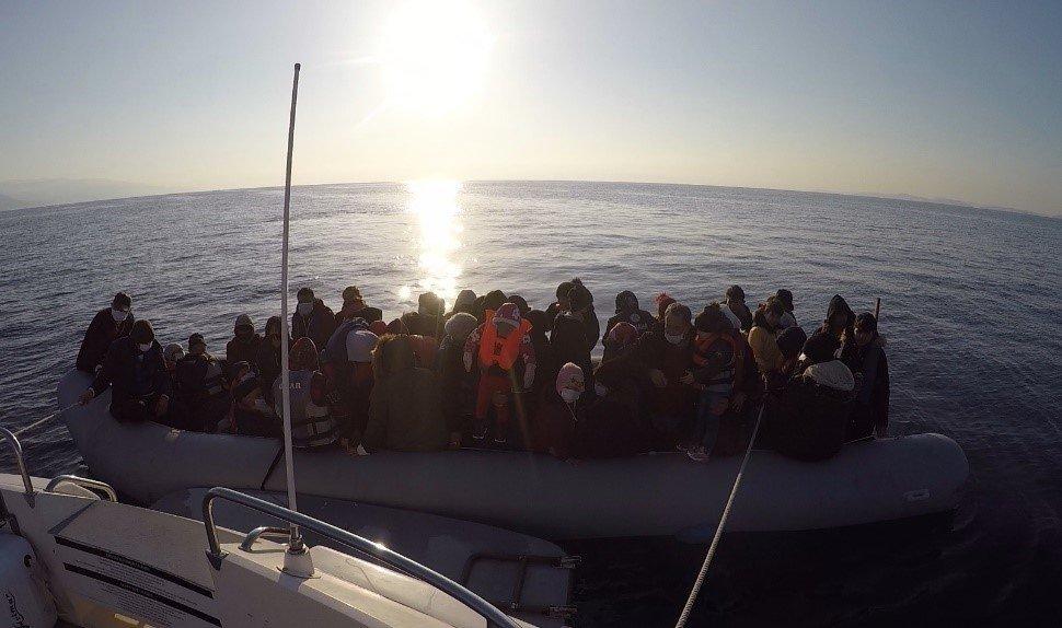 Asylum-seekers rescued by the Turkish coast guard in the Ayvacık district of Çanakkale, Turkey, April 3, 2021 (AA Photo)