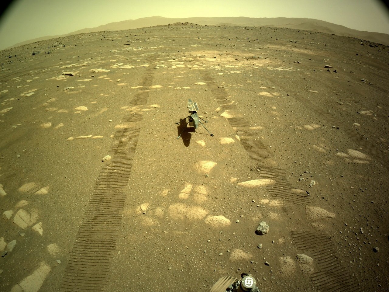 A handout photo made available by NASA shows an image of NASA's Ingenuity Helicopter acquired by NASA's Perseverance Mars rover using its onboard Left Navigation Camera (Navcam), on Sol 44, April 5, 2021. (EPA/NASA/JPL-Caltech Photo)