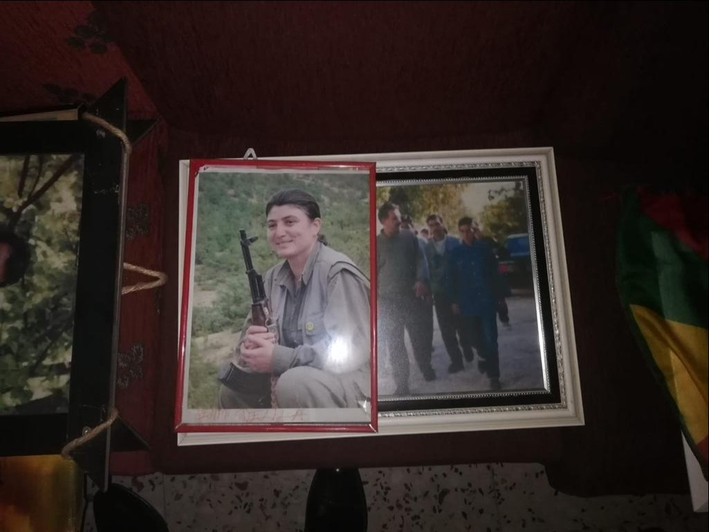 Photos of PKK terrorists, including imprisoned leader Abdullah Öcalan (R), at the Peoples' Democratic Party (HDP) headquarters in Adıyaman province, Turkey, April 6, 2021 (AA Photo).