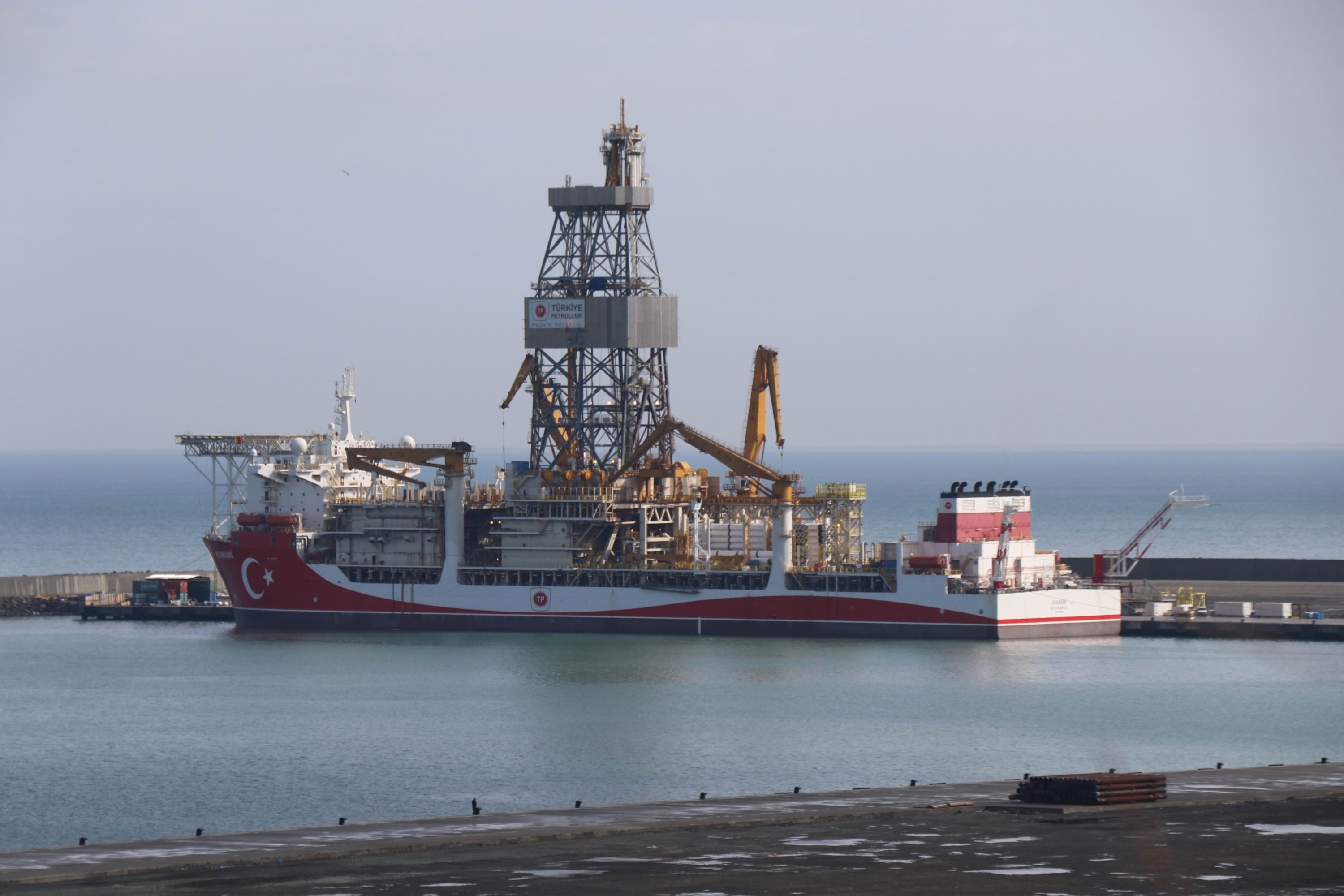 The drillship Kanuni is seen at the Port of Filyos in Zonguldak, northern Turkey, April, 6, 2021. (IHA Photo)