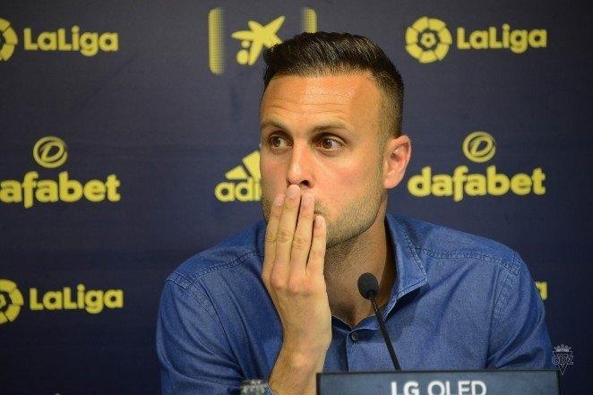 Cadiz defender Juan Cala during a press conference in Cadiz, Spain, April 6, 2021. (Cadiz FC/EPA Photo)