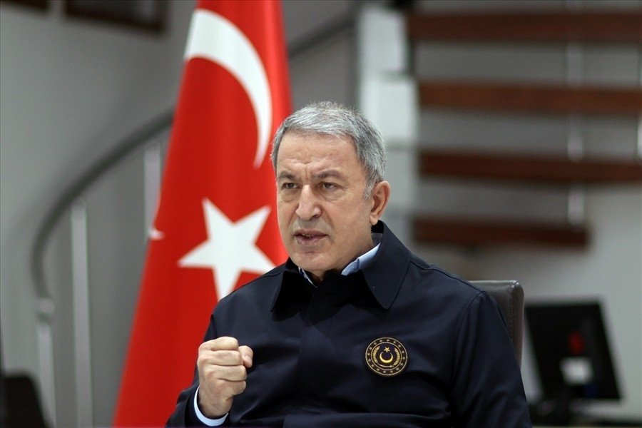 National Defense Minister Hulusi Akar speaks during a meeting with the locals in southeastern Şırnak province, Turkey, April 3, 2021 (IHA Photo)