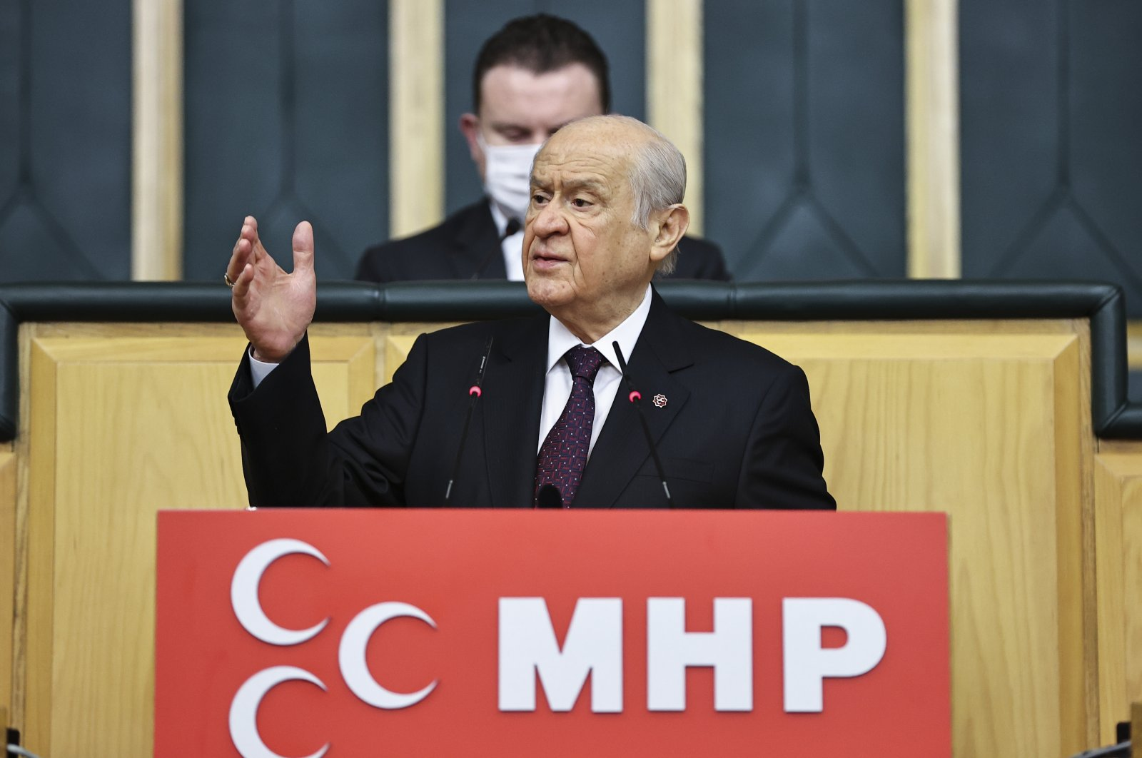Nationalist Movement Party (MHP) leader Devlet Bahçeli speaks during a party meeting in Ankara, Turkey, March 30, 2021. (AA Photo)