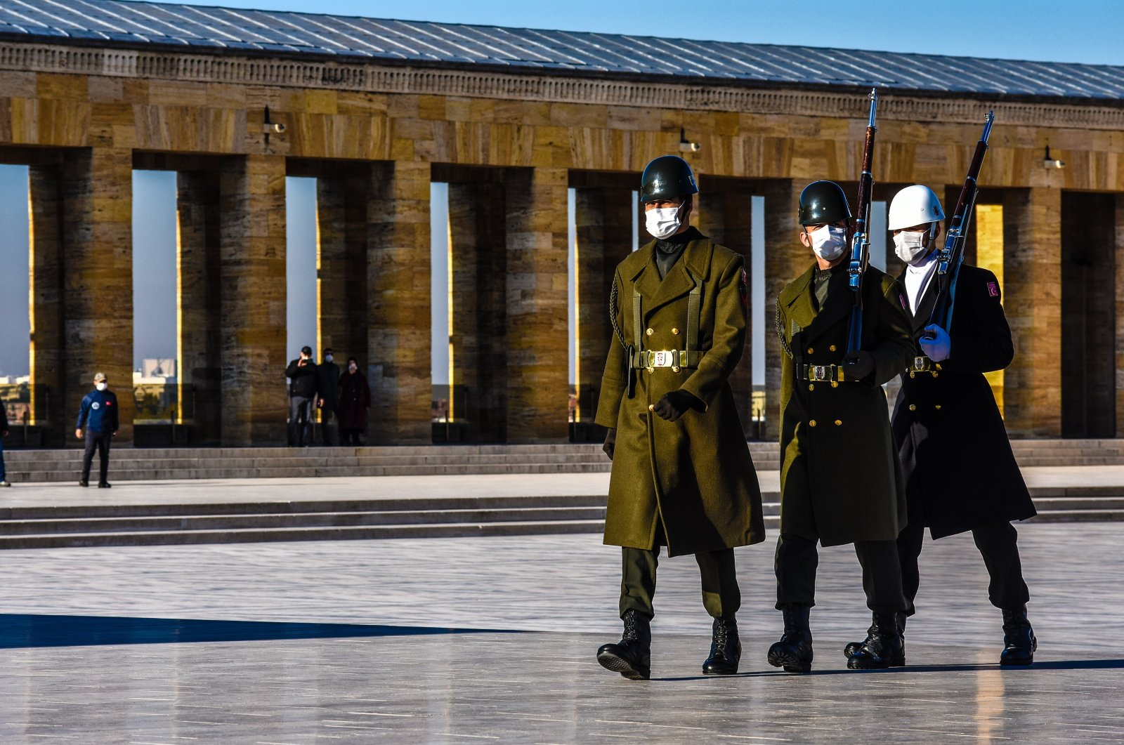 Turkish soldiers wearing protective face masks march during the changing of the guards at Anıtkabir, the mausoleum of modern Turkey's founder, Mustafa Kemal Atatürk, Ankara, Turkey, Nov. 28, 2020. (Photo by Getty Images)