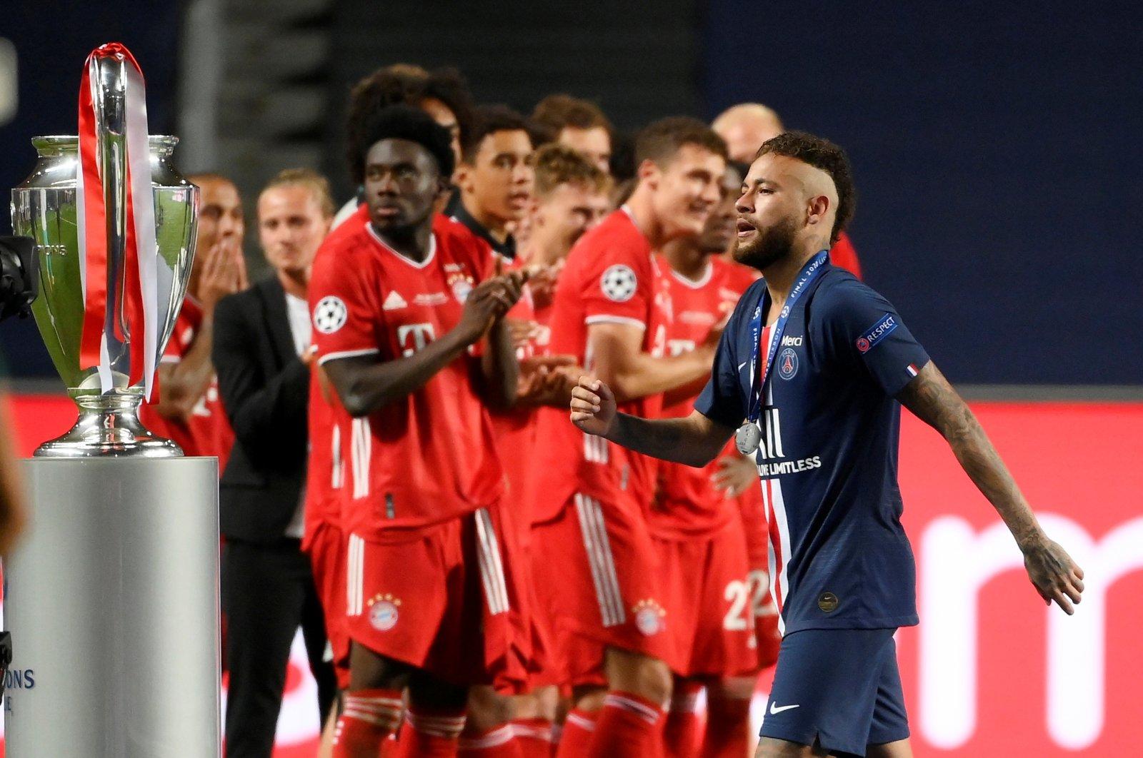 Paris Saint-Germain's Neymar looks dejected after losing the Champions League final against Bayern Munich at Estadio da Luz, Lisbon, Portugal, Aug. 23, 2020. (Reuters Photo)