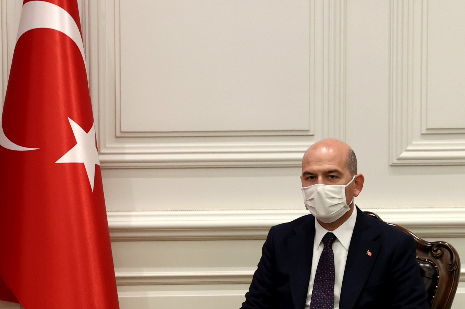 Interior Minister Süleyman Soylu attends a press meeting with his Guinea Bissauan counterpart, Botche Candé (not pictured), Ankara, Turkey, April 2, 2021. (AA)