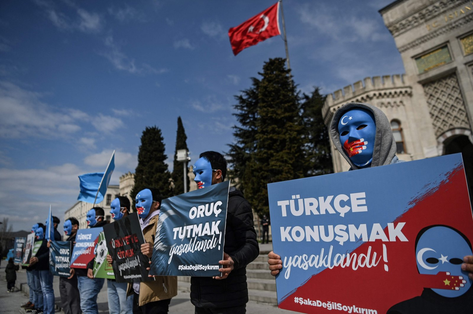 Supporters of the Uyghur Turks demonstrate during a protest, Istanbul, Turkey, April 1, 2021. (AFP Photo)