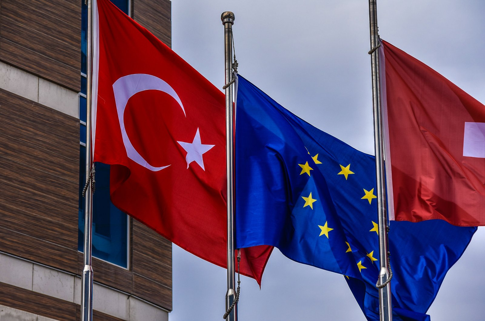 Turkish and European Union flags flutter in the wind outside a hotel in Söğütözü district, Ankara, Turkey. (Photo by Getty Images)