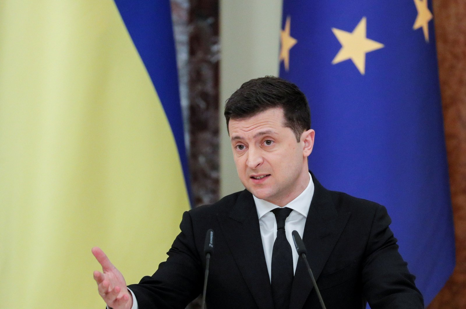 Ukrainian President Volodymyr Zelenskiy speaks during a joint news conference with European Council President Charles Michel in Kyiv, Ukraine, March 3, 2021. (Reuters Photo)