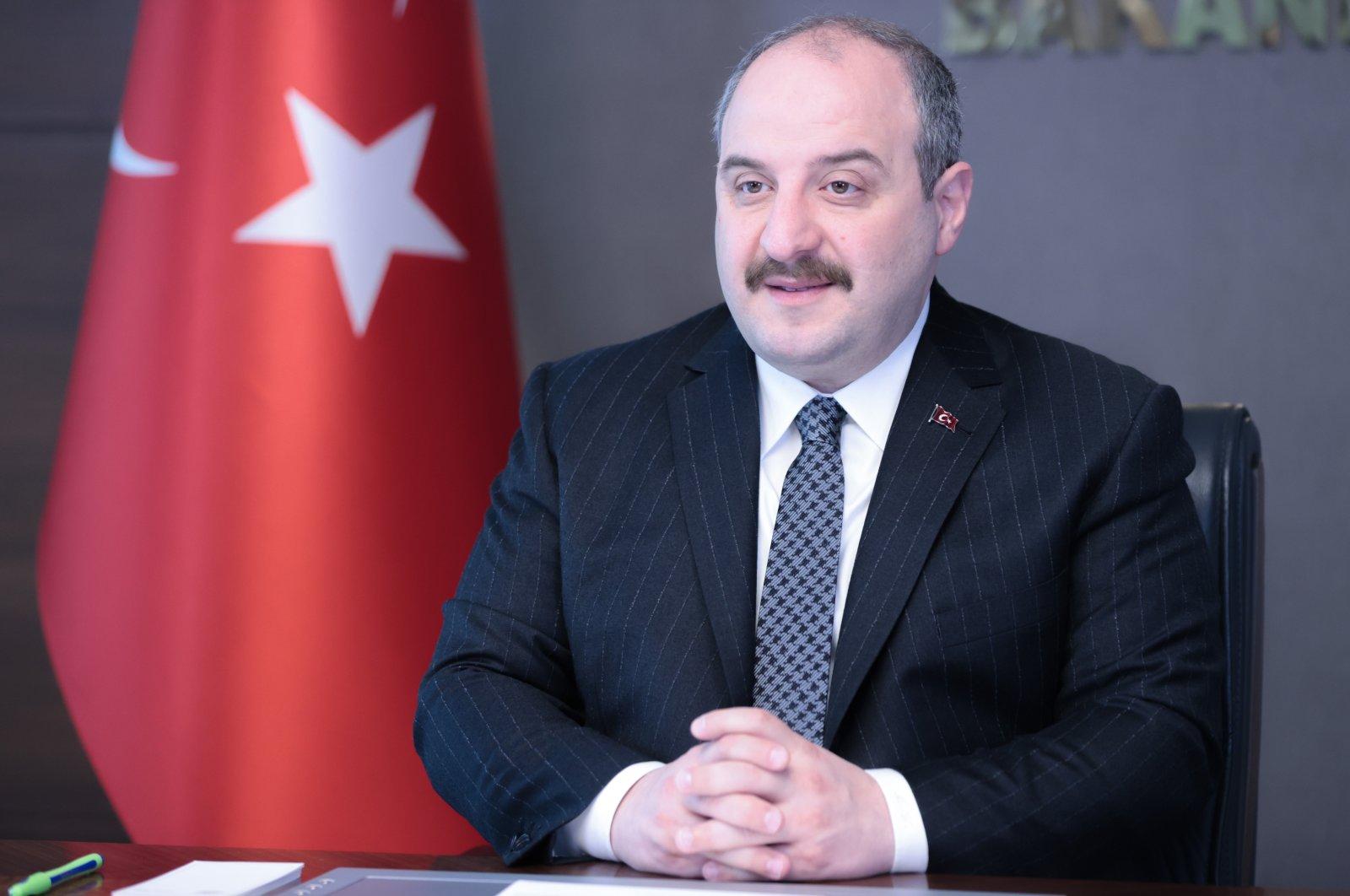 Industry and Technology Minister Mustafa Varank attends the Global Technology Governance Summit organized by the World Economic Forum via videoconference, Ankara, Turkey, April 6, 2021. (AA Photo)