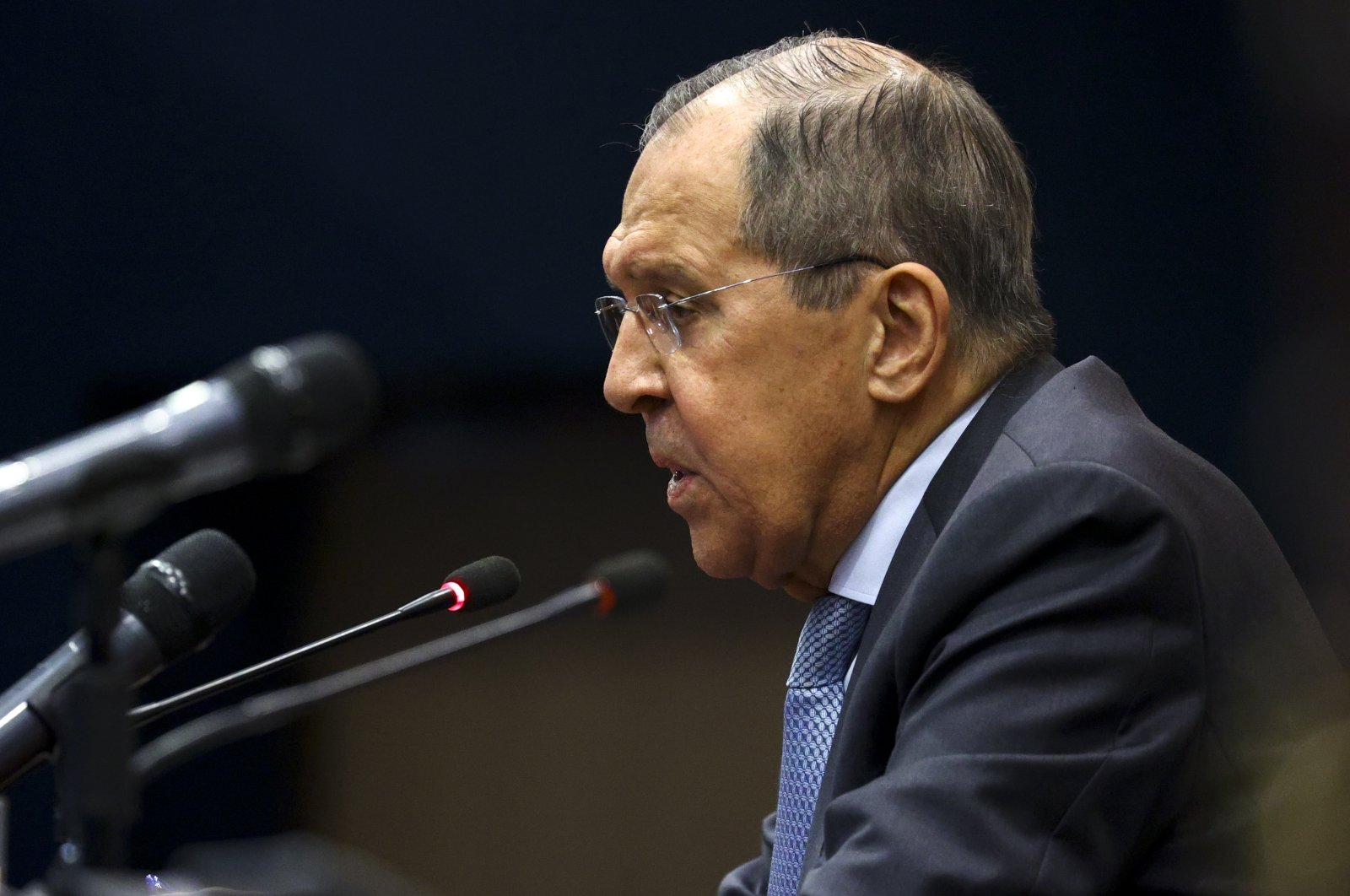 Russian Foreign Minister Sergey Lavrov speaks to the media during his and Indian Foreign Minister Subrahmanyam Jaishankar joint news conference in New Delhi, India, April 6, 2021. (Russian Foreign Ministry Press Service via AP)