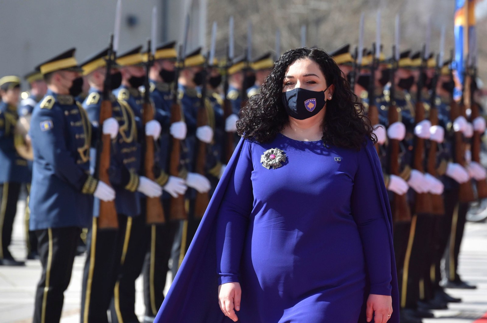 The newly elected Kosovo President Vjosa Osmani is pictured during a swearing in ceremony in Pristina, Kosovo, April 6, 2021. (Reuters Photo)