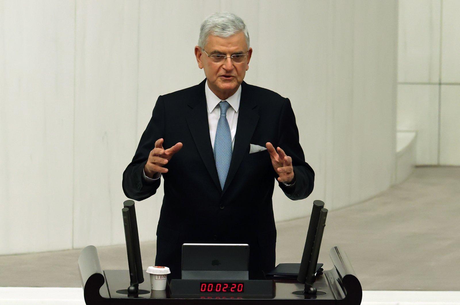 The president of the U.N. General Assembly, Volkan Bozkır, gives a speech at the Turkish Parliament, Ankara, Turkey, April 6, 2021. (AA Photo)