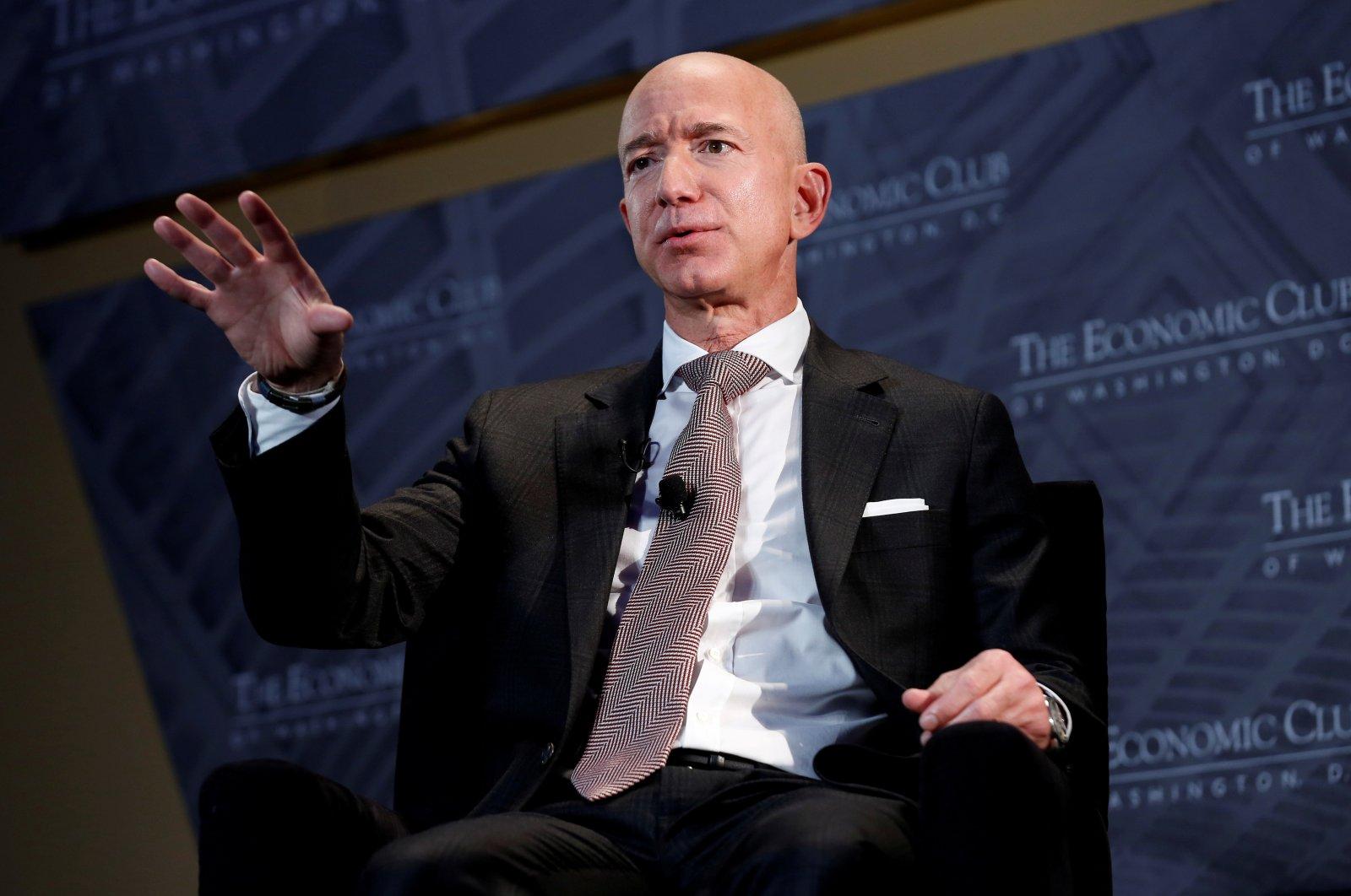 "Jeff Bezos, president and CEO of Amazon and owner of The Washington Post, speaks at the Economic Club of Washington D.C.'s ""Milestone Celebration Dinner"" in Washington D.C., U.S., Sept. 13, 2018. (Reuters Photo)"