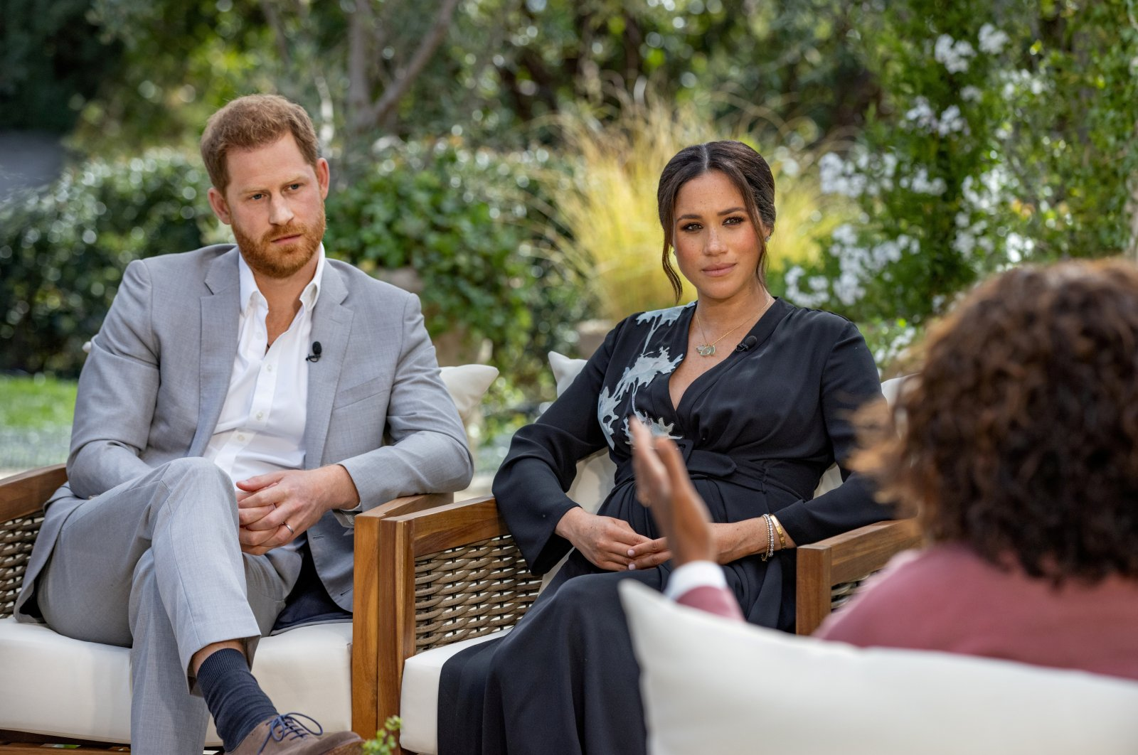 Britain's Prince Harry and Meghan, Duchess of Sussex, are interviewed by Oprah Winfrey in this undated handout photo. (Reuters Photo)