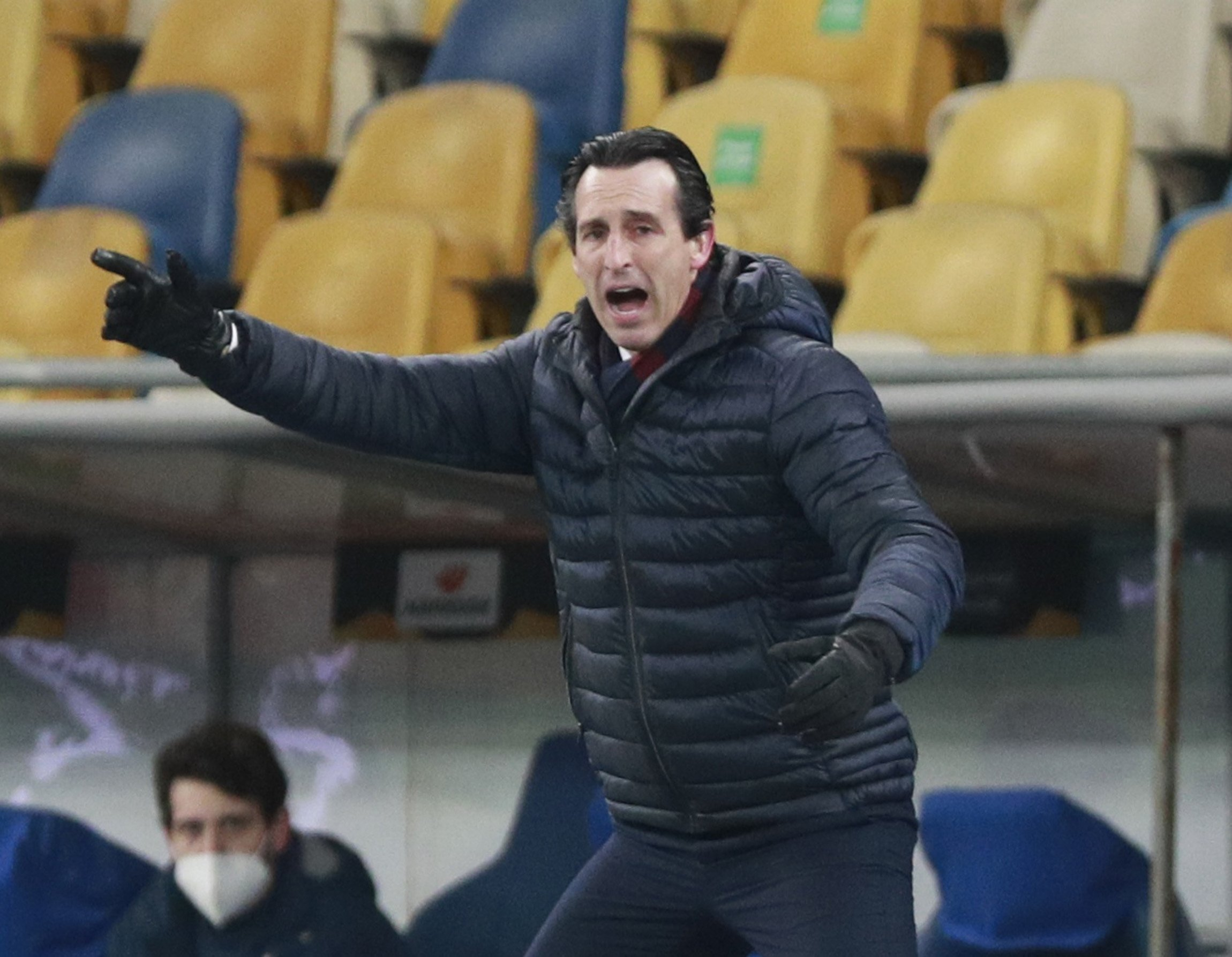 Villarreal coach Unai Emery reacts during a Europa League Round of 16, first-leg match against Dynamo Kyiv at the NSC Olympiyskiy, Kyiv, Ukraine, March 11, 2021. (Reuters Photo)