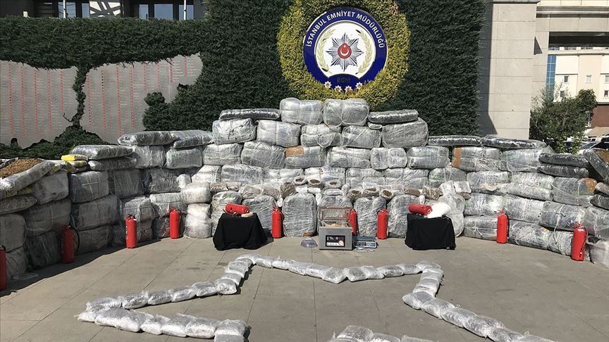 Illicit drugs seized in a police operation on display in Istanbul, Turkey, Oct. 2, 2019. (AA PHOTO)