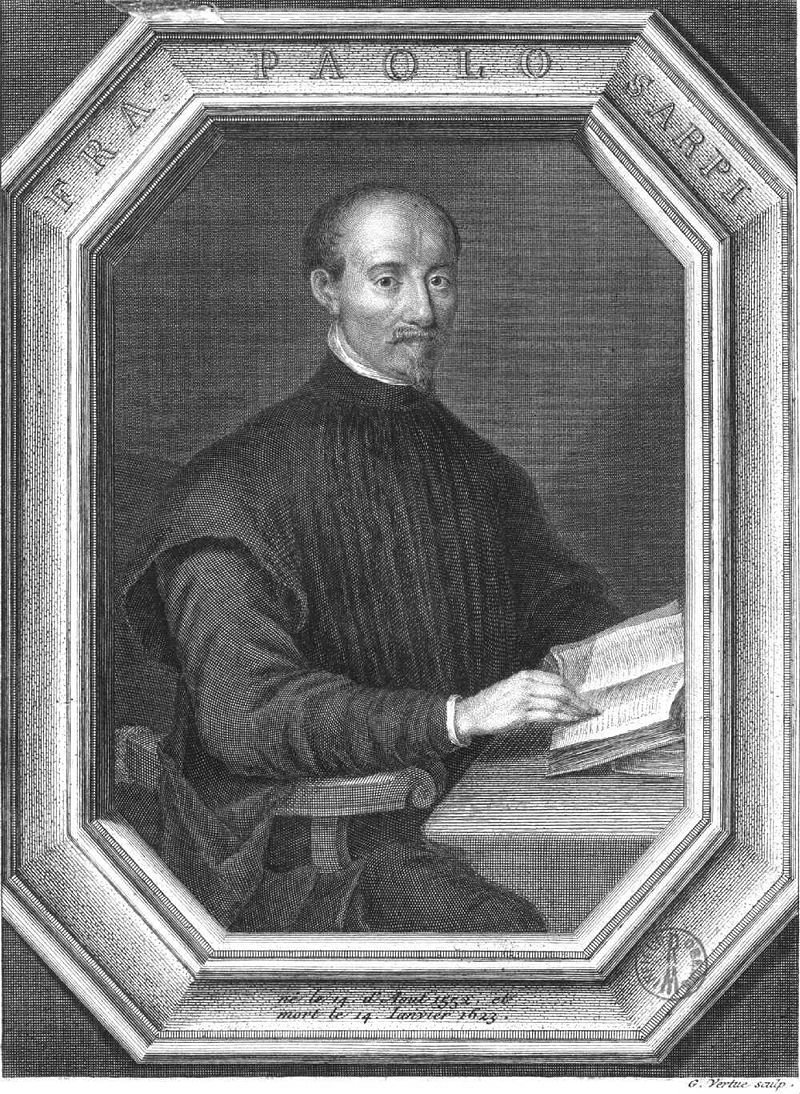 An engraving of Paolo Sarpi by English engraver George Vertue.
