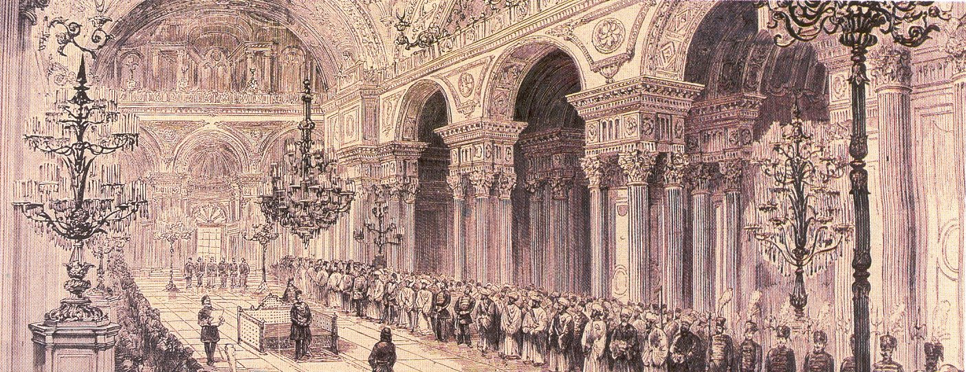 A lithograph of the opening ceremony of the first Ottoman Parliament at the Dolmabahçe Palace in Istanbul in 1876.