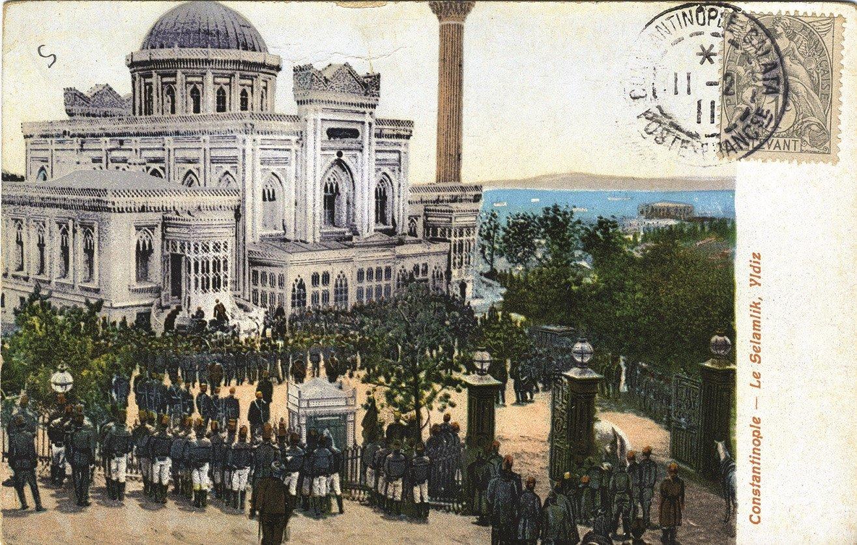 A postal stamp shows Slemalık yard of the Yıldız Palace in Istanbul. (Archive Photo)