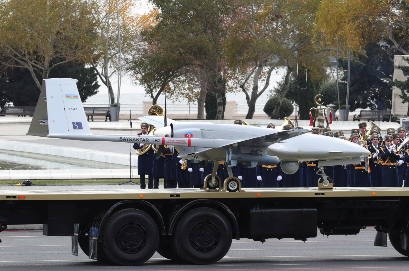An Azerbaijan army-owned Bayraktar TB2 UCAV is displayed during a military parade to mark the victory in the Nagorno-Karabakh conflict, in Baku, Azerbaijan, Dec. 10, 2020. (Photo by Turkey's Presidential Press Office via Reuters)