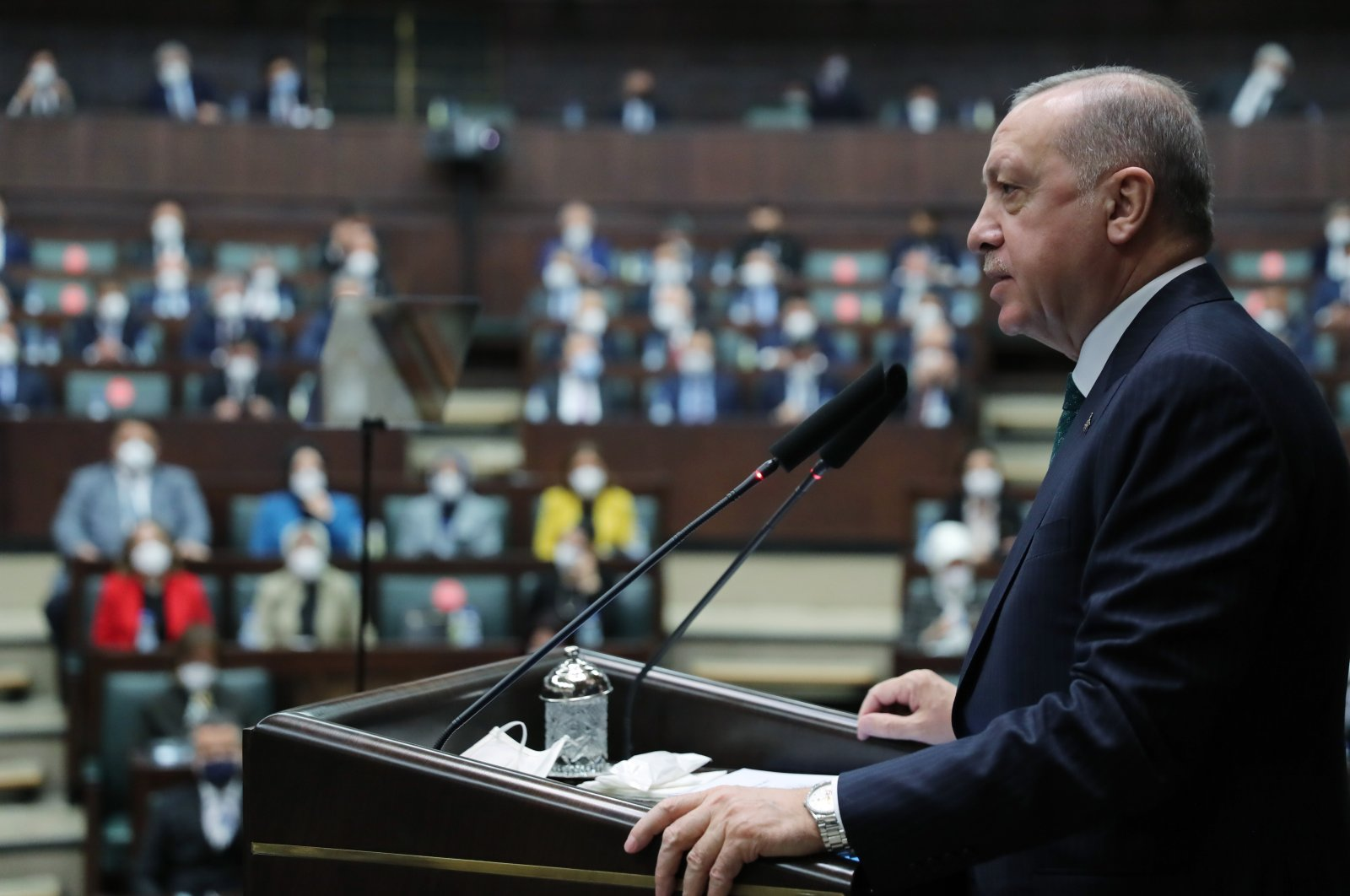 President Recep Tayyip Erdoğan addresses ruling Justice and Development Party (AK Party) lawmakers during a parliamentary group meeting in Parliament, Ankara, Turkey, April 7, 2021. (AA Photo)