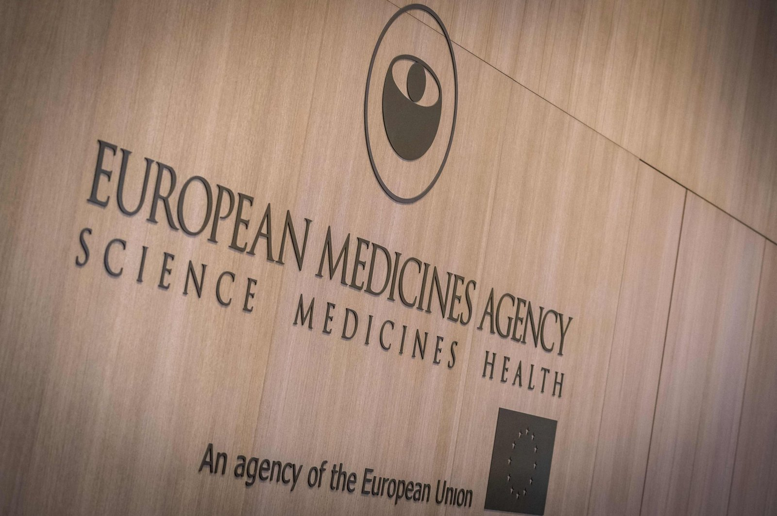 """An inscription reads """"European Medicines Agency"""" at the entrance of the new building at the EMA headquarters in Amsterdam, the Netherlands, Nov. 15, 2019. (AFP Photo)"""