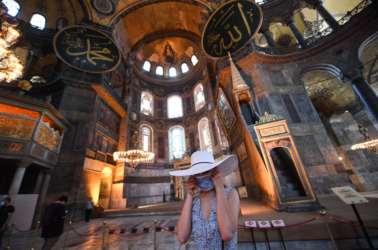 A tourist visits the inside of Hagia Sophia, Istanbul, Turkey, July 10, 2020. (AFP Photo)
