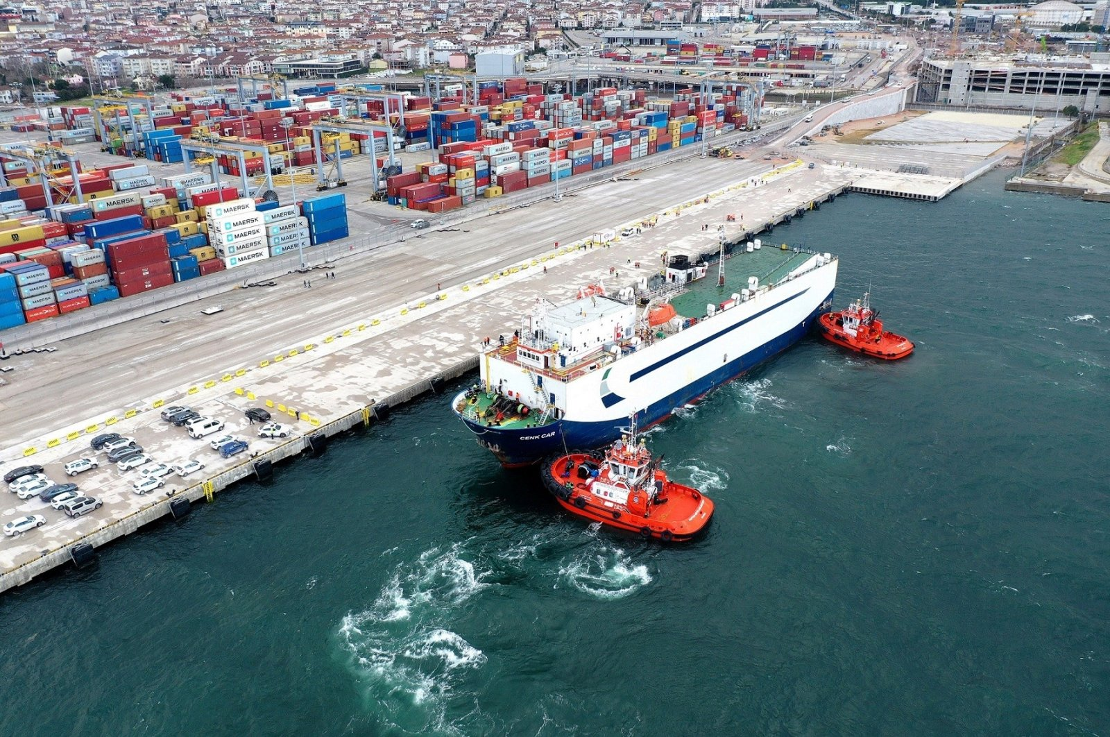 The first voyage to the automotive-focused Ro-Ro port of OYAK Maritime and Port Management INC completed in Kocaeli, northwestern Turkey, April 7, 2021. (Photo courtesy of OYAK)