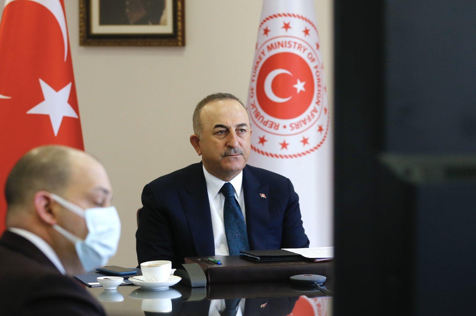 Foreign Minister Mevlüt Çavuşoğlu attends the D-8 meeting via videoconference in Ankara, Turkey, April 7, 2021 (AA Photo)