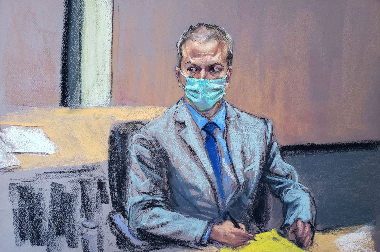 In this courtroom sketch, former Minneapolis police officer Derek Chauvin listens during the seventh day of his trial for second-degree murder, third-degree murder and second-degree manslaughter in the death of George Floyd in Minneapolis, Minnesota, the U.S., April 6, 2021. (Reuters Photo)