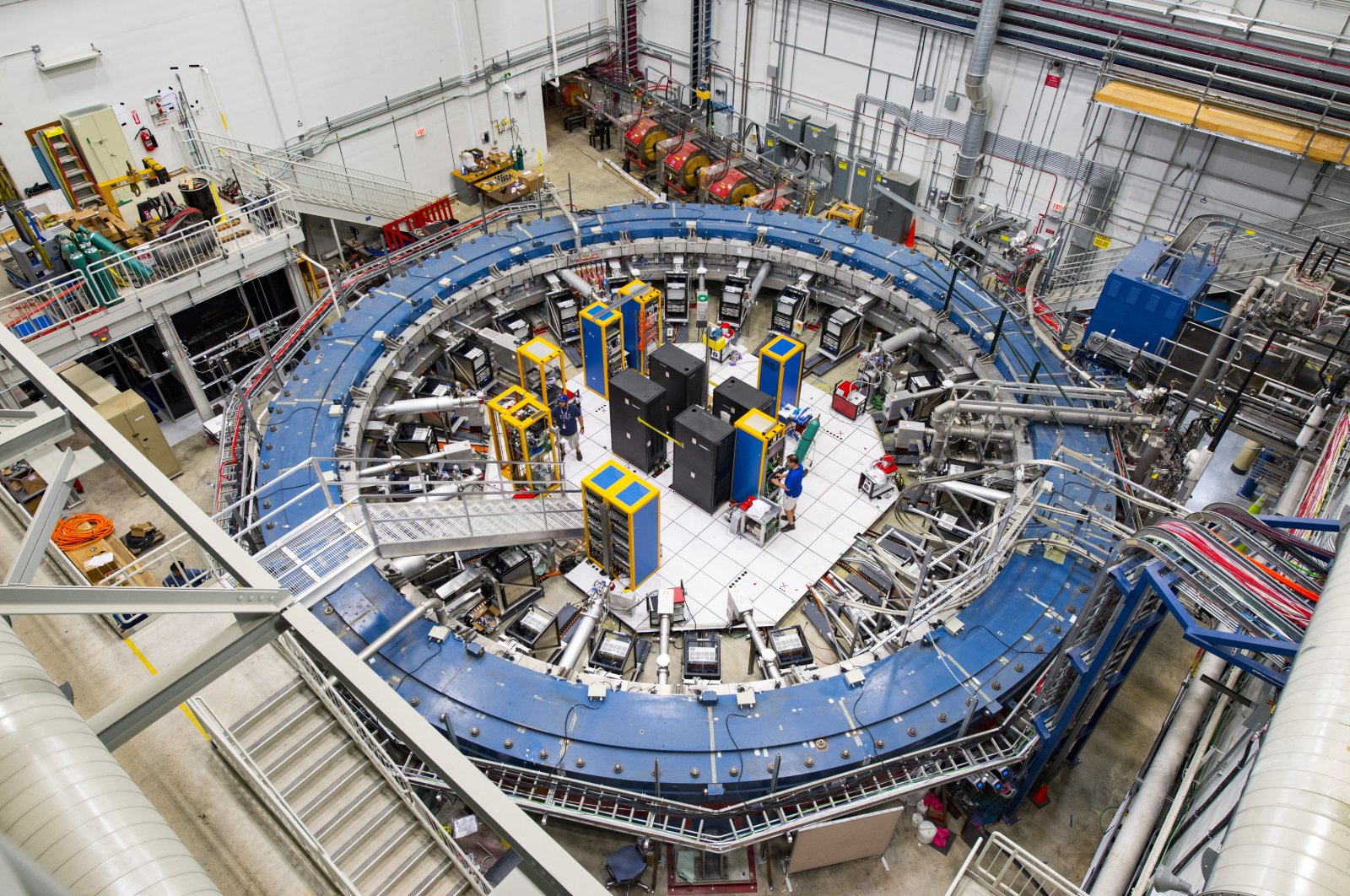 This August 2017 photo made available by Fermilab shows the Muon g-2 ring at the Fermi National Accelerator Laboratory outside of Chicago, U.S. (Reidar Hahn/Fermilab via AP)