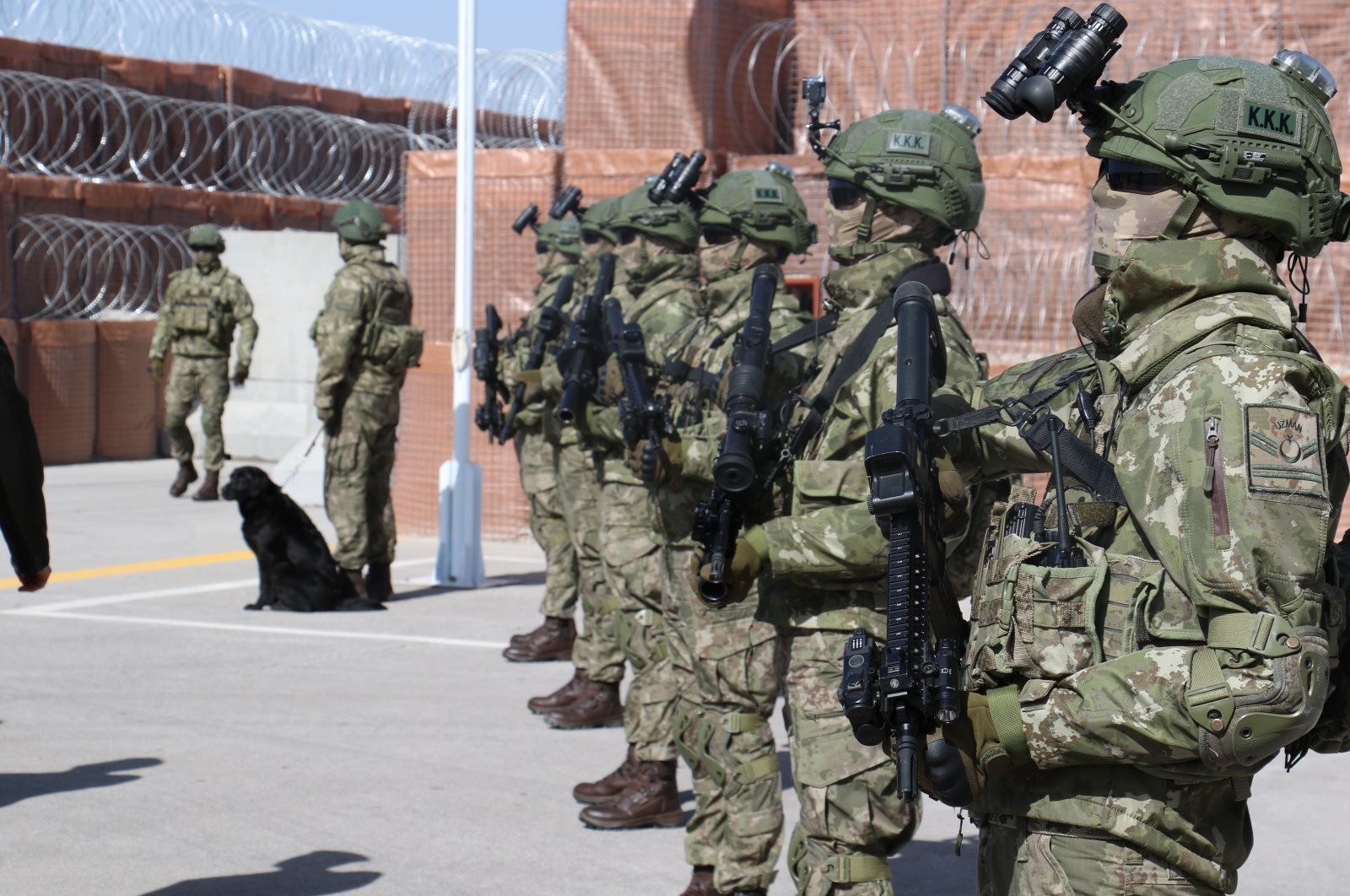 Turkish soldiers stand during an event introducing the public to new equipment added to the Turkish military's inventory in Ankara, Turkey, April 7, 2021. (IHA File Photo)
