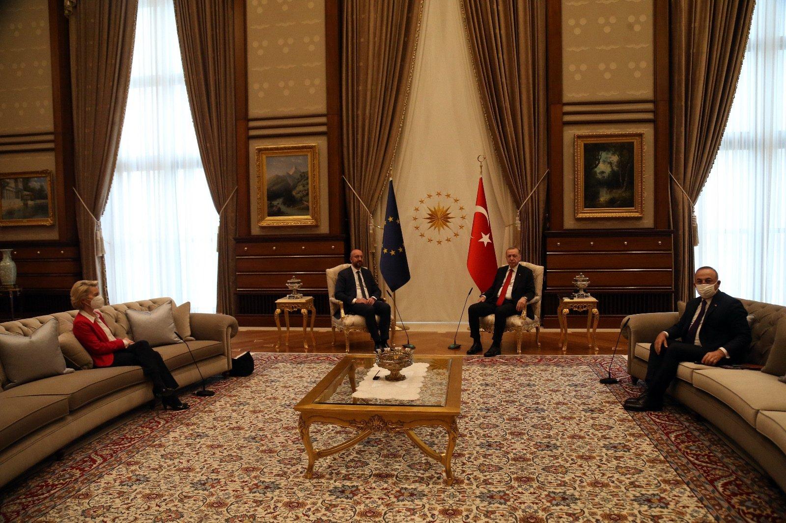 President Recep Tayyip Erdoğan receives European Council President Charles Michel and European Commission President Ursula von der Leyen at the Presidential Complex in Ankara, Turkey, April 6, 2021. (Courtesy of the EU Delegation to Turkey)