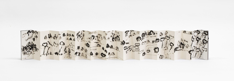 Etel Adnan, Beiteddine, 2003, Liborello, κινέζικο μελάνι σε χαρτί, 19 x 8 cm (ανοιχτή έκδοση 9 x 174 cm).  (Ευγενική προσφορά του Μουσείου Pera)