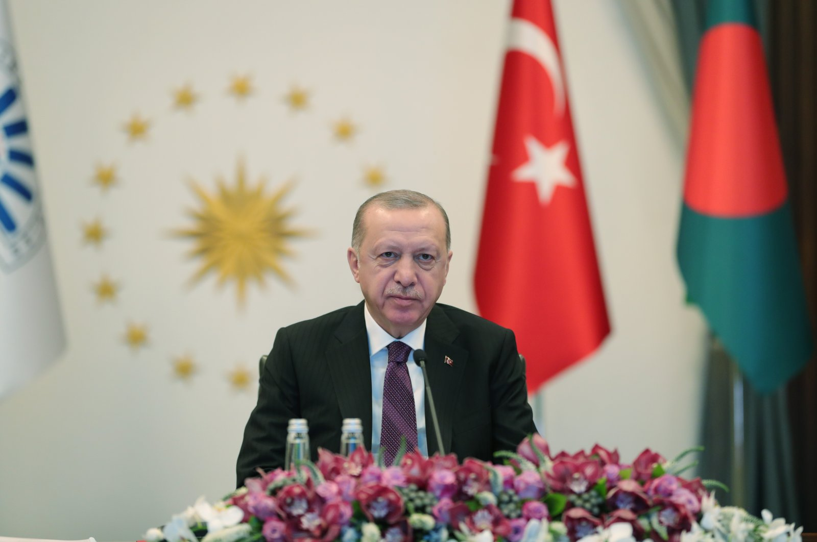 President Recep Tayyip Erdoğan addresses the virtual D-8 Organization for Economic Cooperation Summit, Ankara, Turkey, April 8, 2021. (AA Photo)