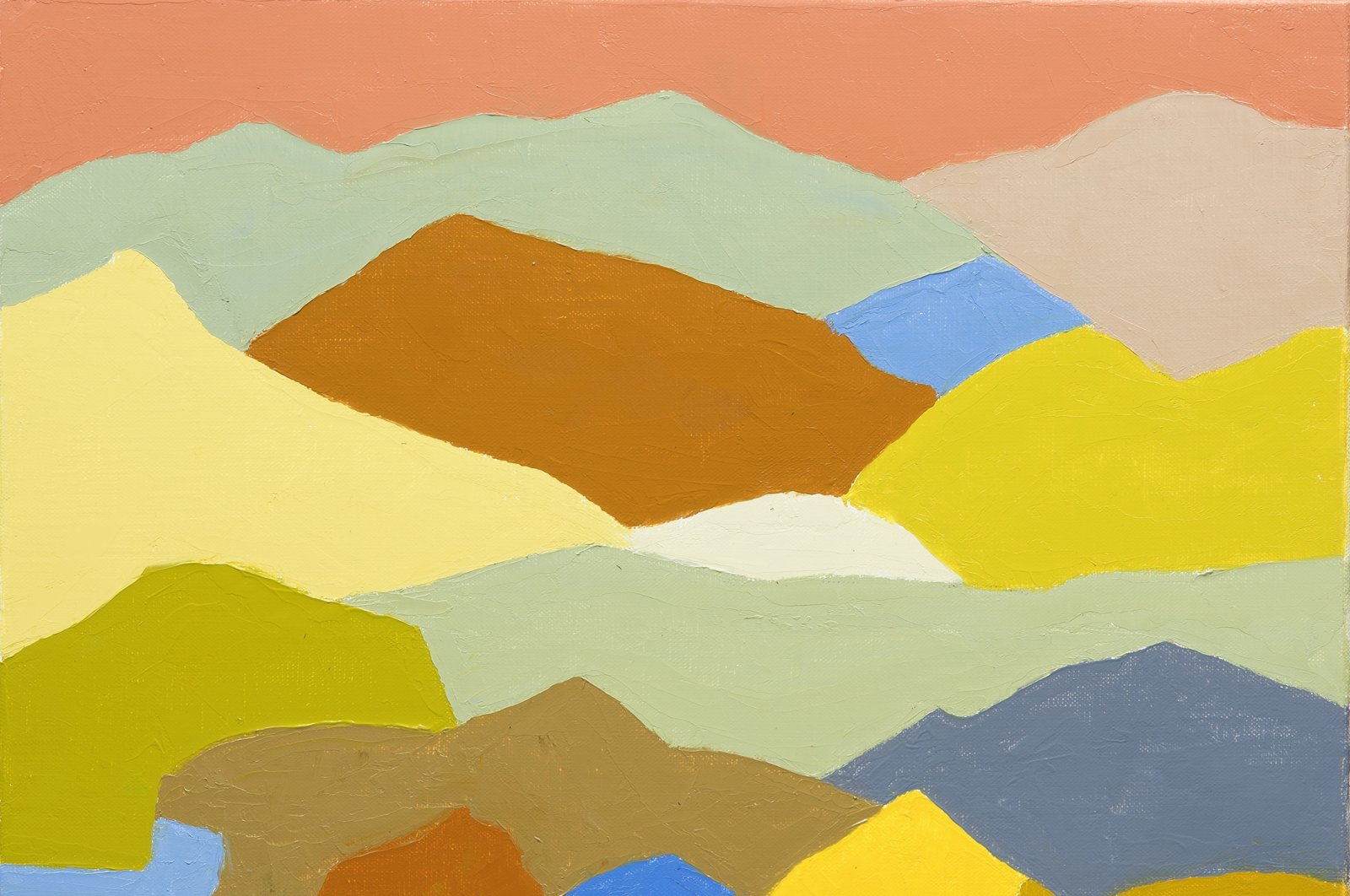Etel Adnan, untitled, 1961, oil on canvas stretched on wood, 50 by 36 centimeters. (Courtesy of Pera Museum)