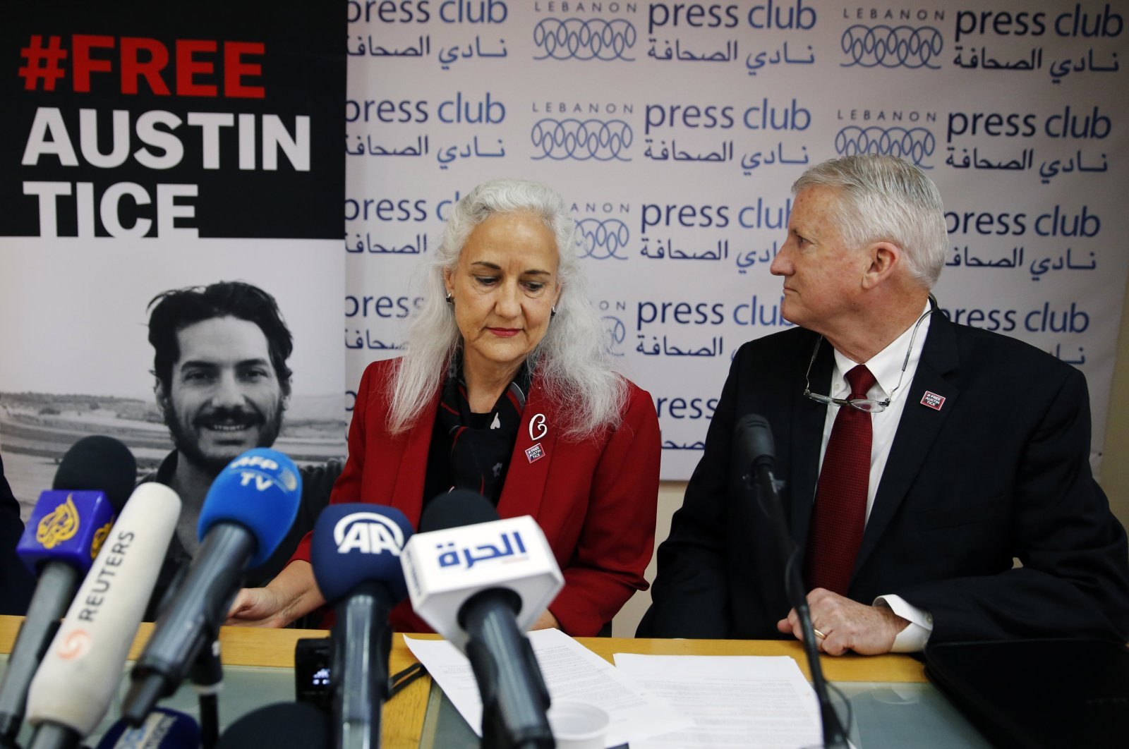 Marc and Debra Tice, the parents of Austin Tice, who is missing in Syria, speak during a press conference, at the Press Club, in Beirut, Lebanon, Dec. 4, 2018. (AP Photo)
